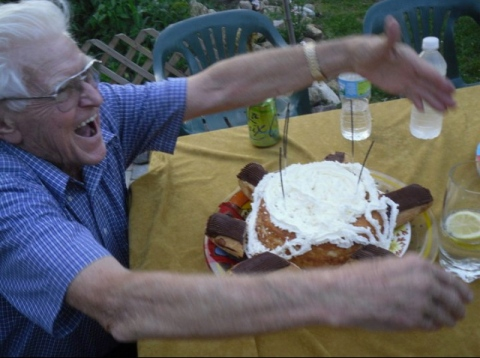 My grandpa showing how to properly celebrate a birthday.